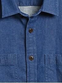 Slim Cotton-Hemp Denim Shirt Jacket