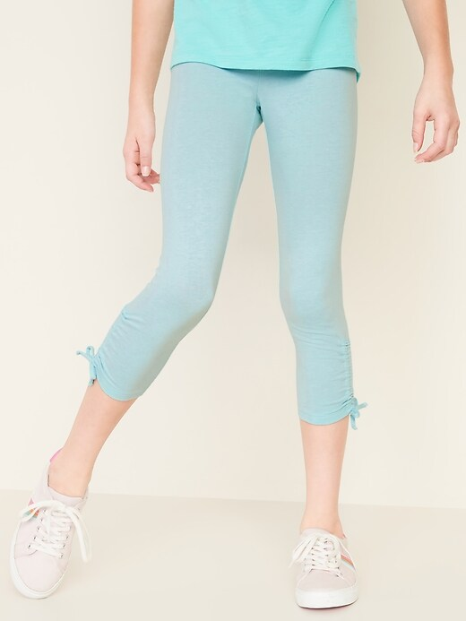 Cropped Ruched-Hem Leggings for Girls