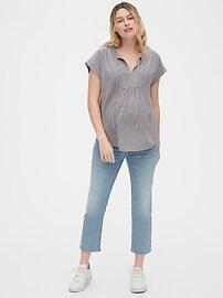 Maternity Pintuck Bib-Front Top in Modal