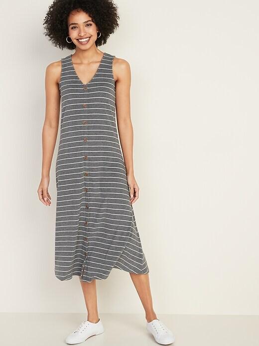 Sleeveless Button-Front Rib-Knit Midi Dress for Women