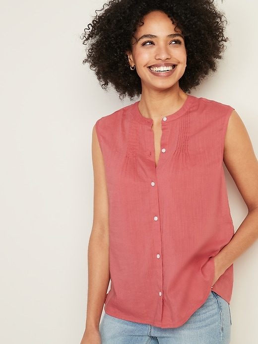 Sleeveless Button-Front Cocoon Top for Women