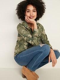 Classic Camo-Patterned Shirt for Women