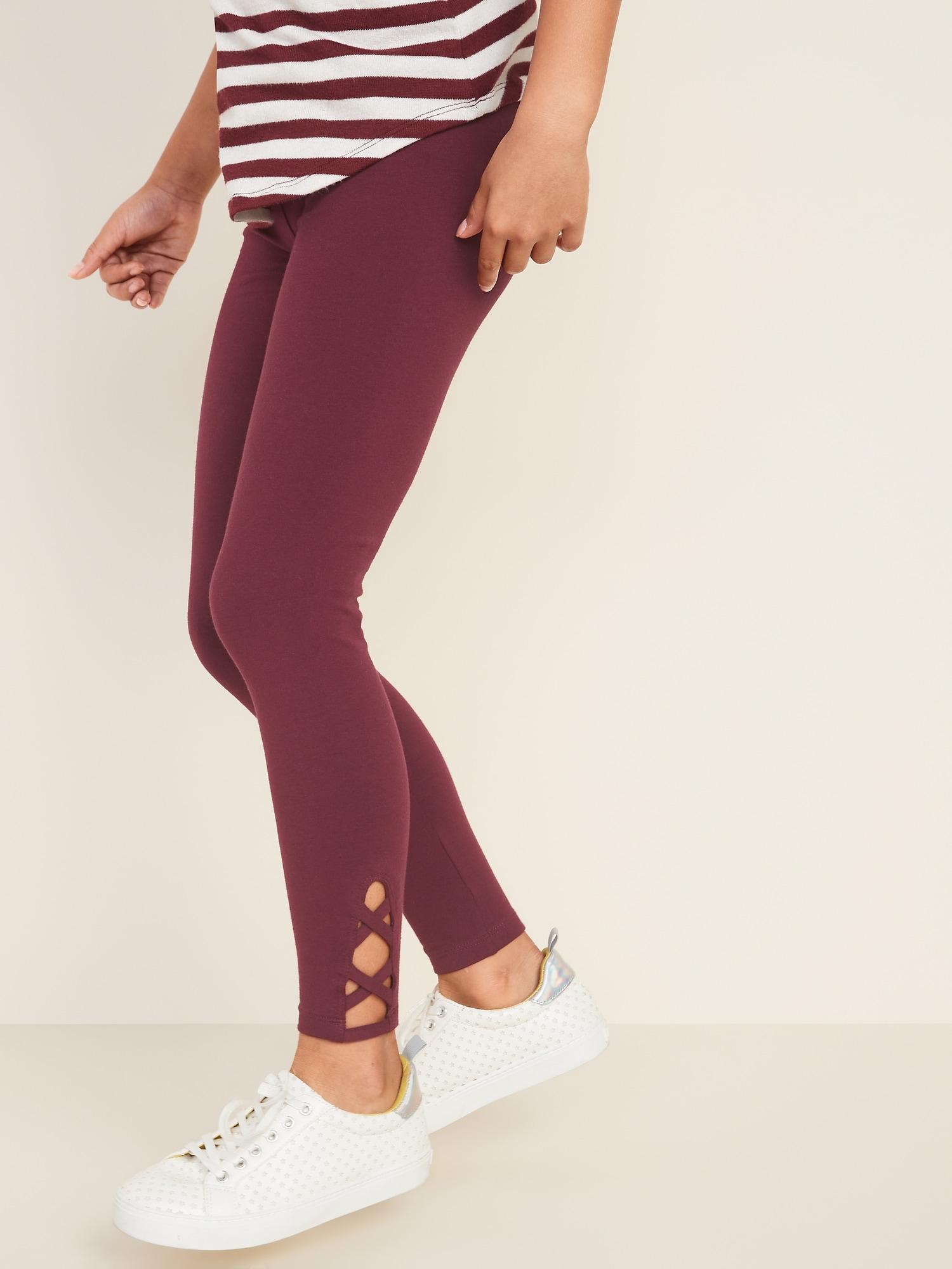 Built-In Tough Full-Length Lattice-Hem Leggings for Girls
