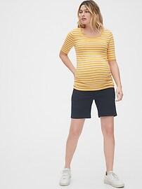 "4"" Maternity Full Panel Stretch Khaki Shorts"