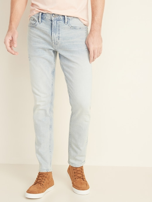 Relaxed Slim Built-In Flex Distressed Light-Wash Jeans for Men