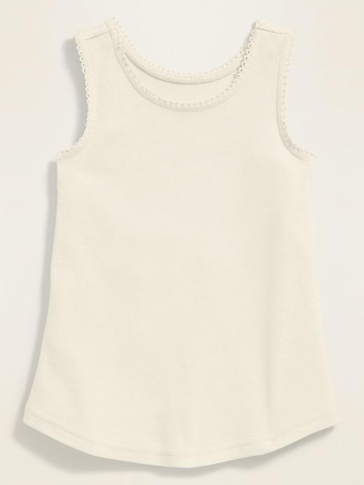 Picot-Trim Tank Top for Toddler Girls