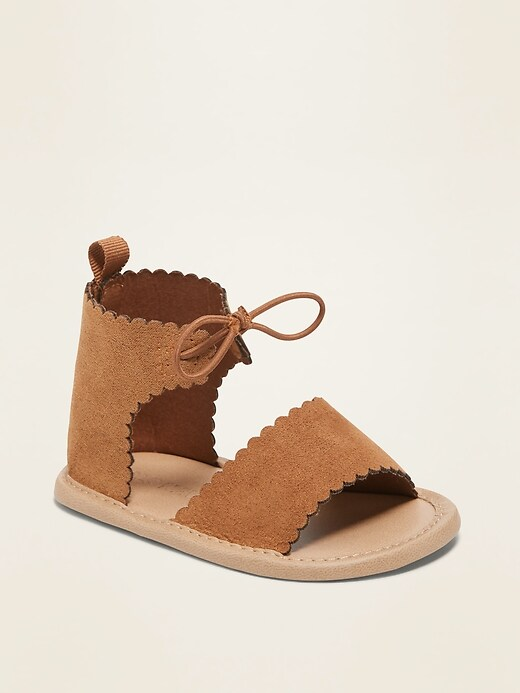 Faux-Suede Scallop-Edge Gladiator Sandals for Baby