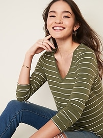Luxe Striped V-Neck Top for Women