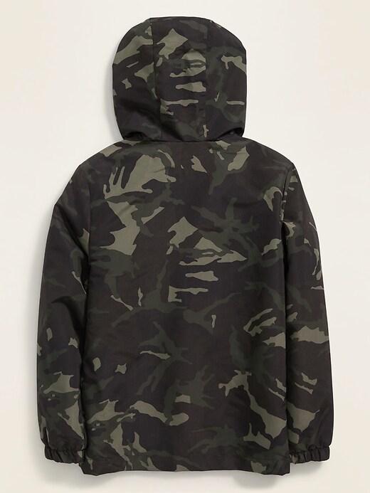 Water-Resistant Hooded Zip Rain Jacket for Boys