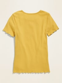Fitted Rib-Knit Henley for Girls