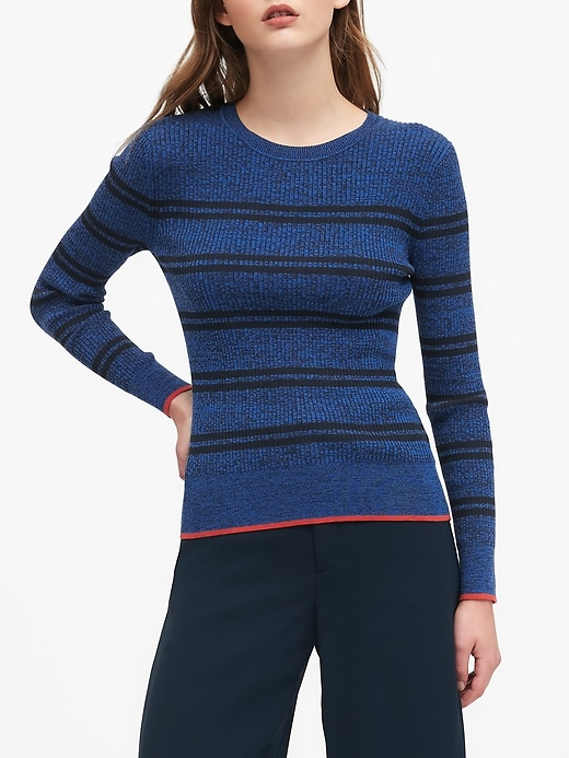 Petite Stretch Cotton Crew-Neck Sweater