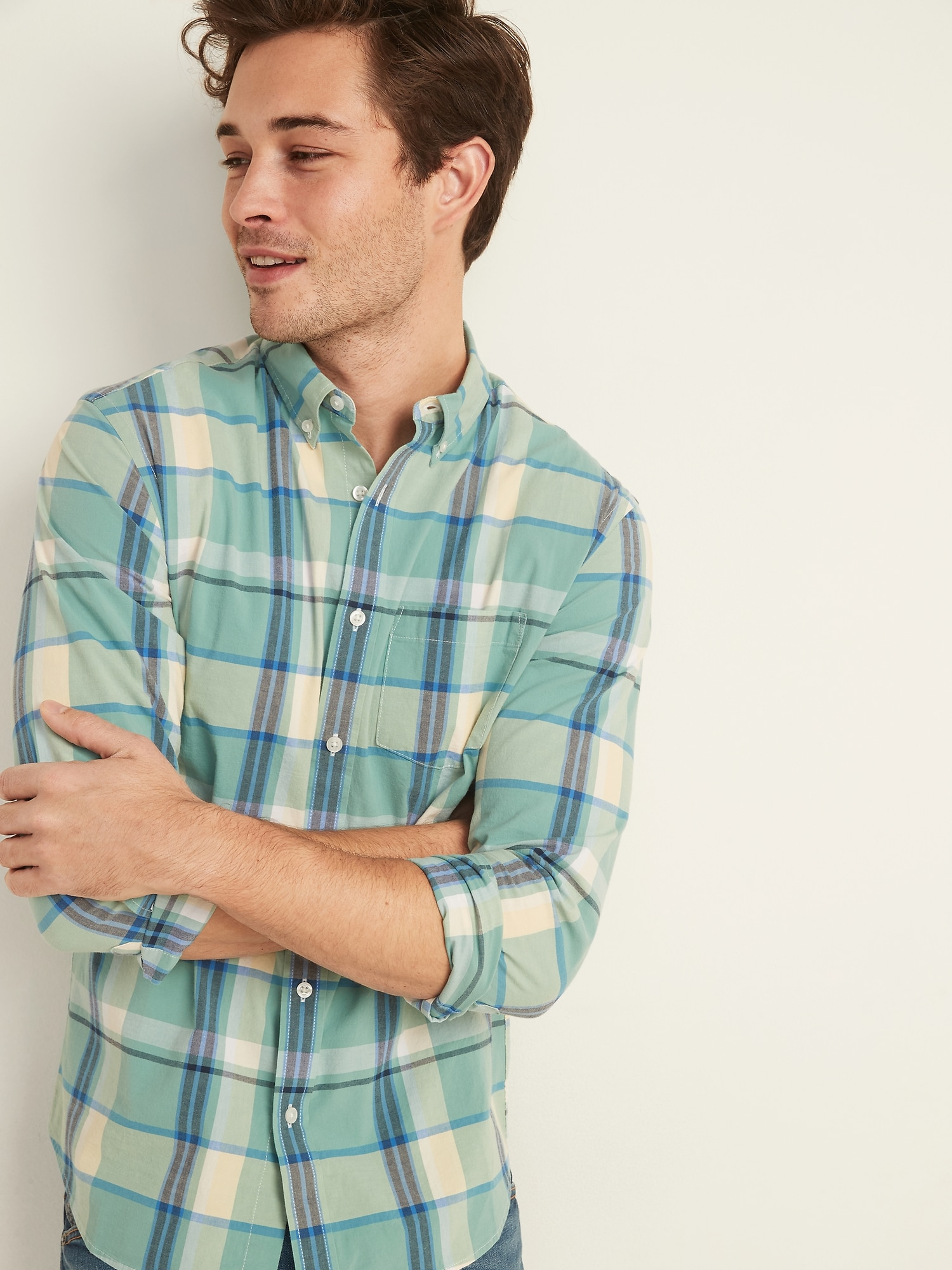 Againg Men Button Down Long Sleeves Gingham Shirt with Chest Pocket