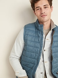 Water-Resistant Packable Narrow-Channel Puffer Vest for Men