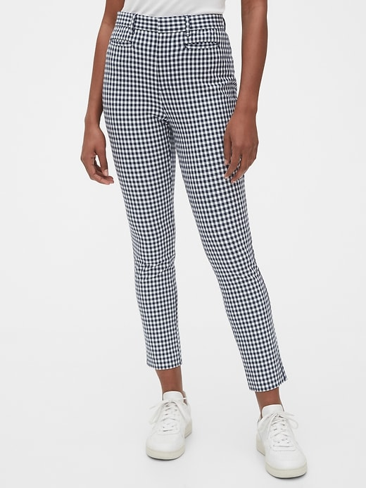 High Rise Gingham Signature Skinny Ankle Pants