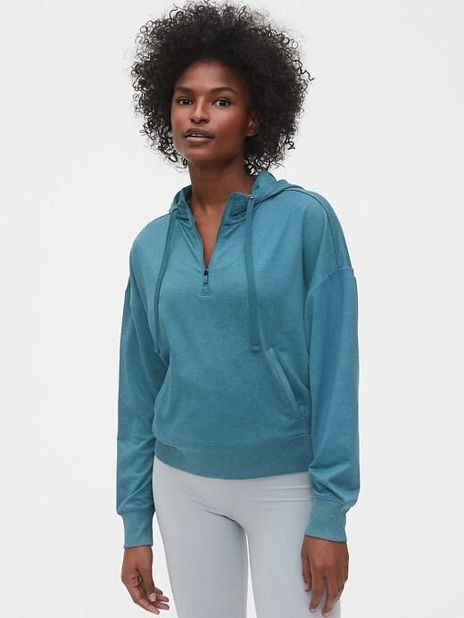 GapFit Half-Zip Pullover Sweatshirt in Brushed Jersey