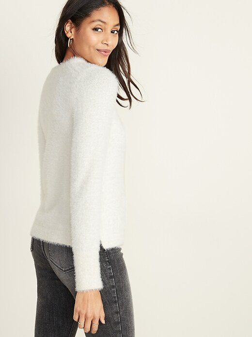 Crew-Neck Eyelash Sweater for Women