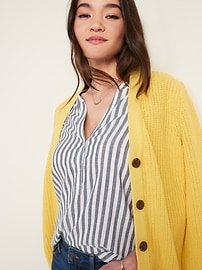 Vertical-Stripe Split-Neck Popover Tunic for Women