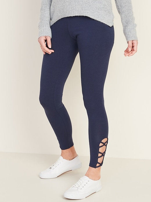 Mid-Rise Lattice-Hem Leggings for Women