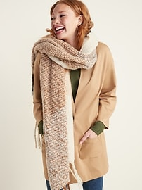 Ponte-Knit Cocoon Coat for Women