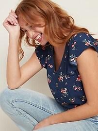 Flutter-Sleeve V-Neck Top for Women