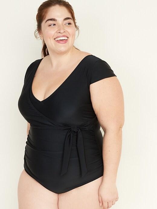 Secret-Slim Tie-Front Cap-Sleeve Plus-Size One-Piece Swimsuit