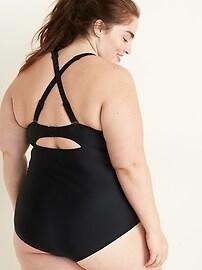 Secret-Slim Twist-Front Plus-Size One-Piece Swimsuit