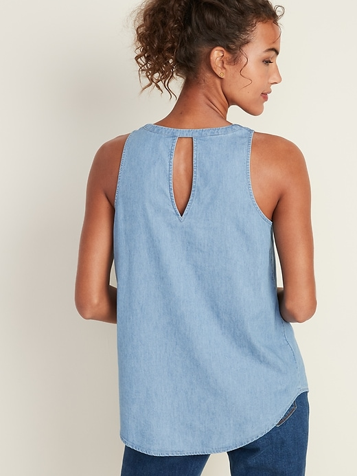 Chambray V-Neck Tank Top for Women