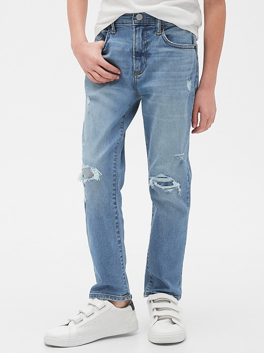 Kids Destructed Athletic Fit Jeans with Stretch