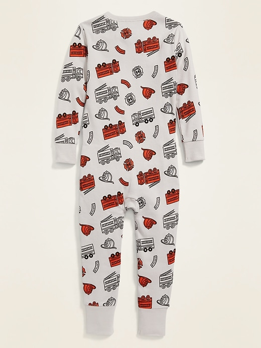 Firetruck-Print Pajama One-Piece for Toddler & Baby