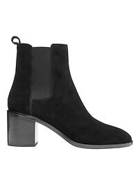 Suede Block Heel Chelsea Boot