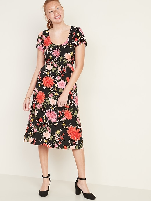 Fit & Flare Printed Button-Front Midi Dress for Women