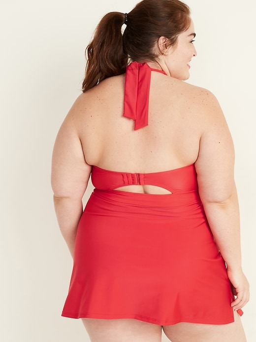Secret-Slim Plus-Size Halter Swim Dress
