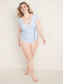 Seersucker Secret-Slim Tie-Front Cap-Sleeve Plus-Size One-Piece Swimsuit