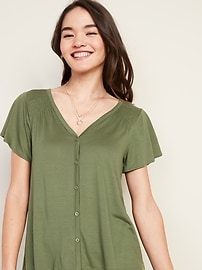 V-Neck Button-Front Jersey-Knit Top for Women