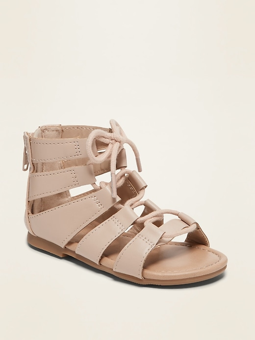 Faux-Leather Gladiator Sandals for Toddler Girls