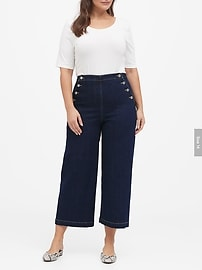 High-Rise Wide-Leg Cropped Sailor Jean