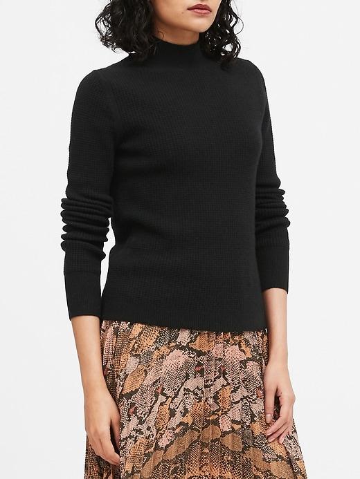 Merino-Blend Waffle-Knit Sweater