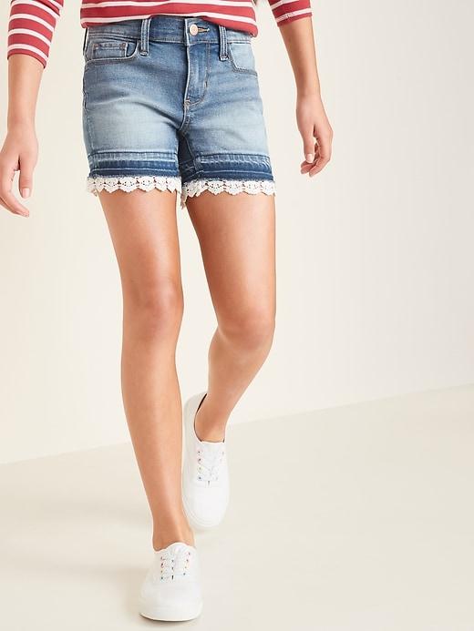 Lace-Hem Jean Midi Shorts for Girls