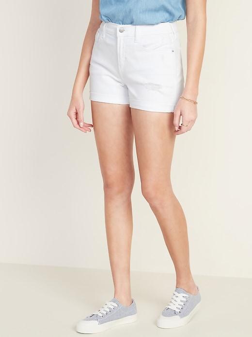 Mid-Rise Distressed Boyfriend White Jean Shorts for Women - 3-inch inseam