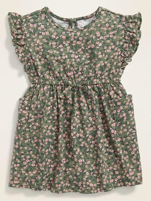 Floral Slub-Knit Flutter-Sleeve Dress for Baby