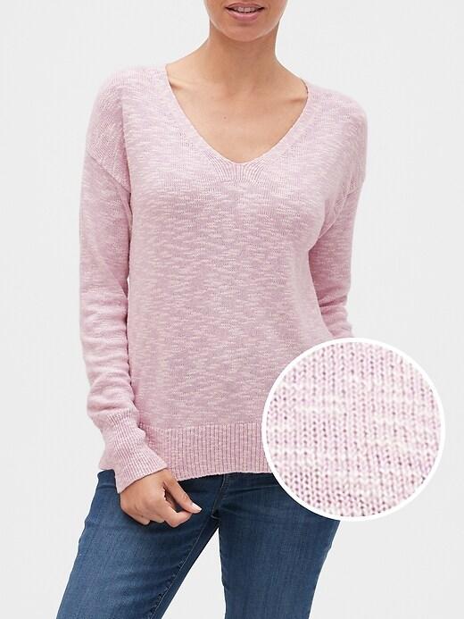 Slub V-Neck Pullover Sweater
