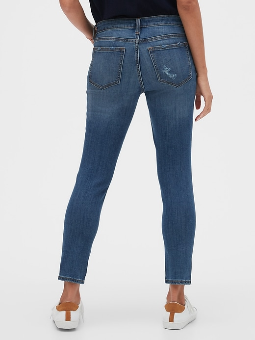Mid Rise Destructed Legging Skimmer Jeans
