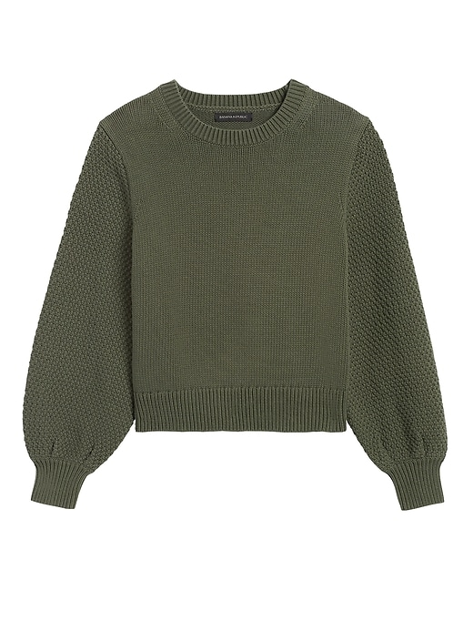 Petite Cotton-Blend Balloon-Sleeve Sweater