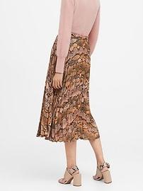Snake Print Pleated Midi Skirt