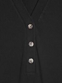 Petite Ribbed Henley T-Shirt