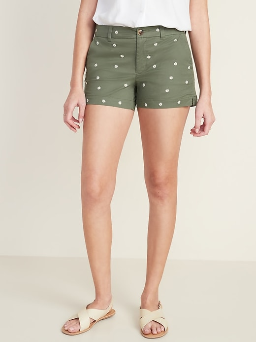 Mid-Rise Everyday Embroidered-Daisy Twill Shorts for Women -- 3.5-inch inseam