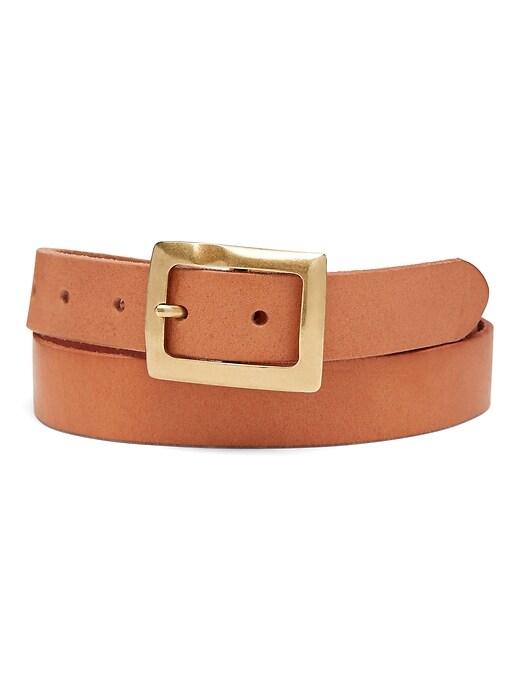 Hammered Buckle Leather Belt