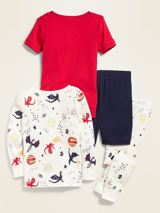 Dragon-Graphic 4-Piece Pajama Set for Toddler Boys & Baby