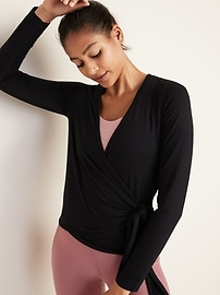 Wrap-Front French Terry Performance Top for Women
