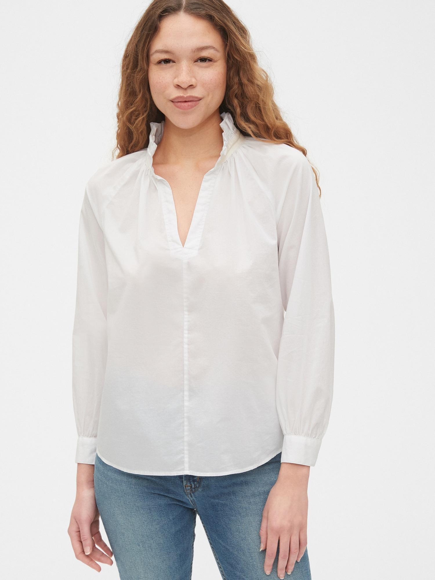 テンセル™ ラッフルポップオーバーシャツ